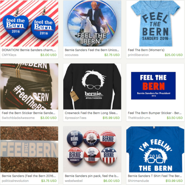 Just a few Feel The Bern items currently for sale on Etsy. (Screengrab: Etsy)