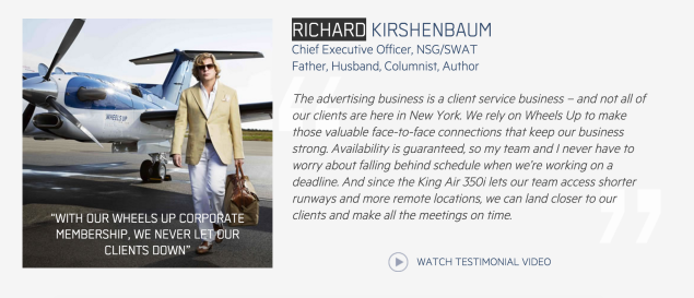 Always stylish advertising executive and Observer columnist Richard Kirshenbaum is one of Wheels Up's 2,100 subscribers.