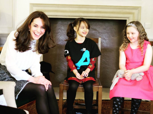 The Duchess of Cambridge speaks with children featured in #YoungMindsMatter