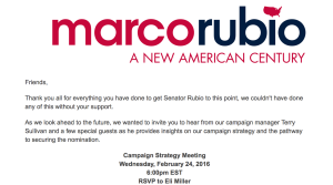 Invitation to the Marco Rubio Strategy Session