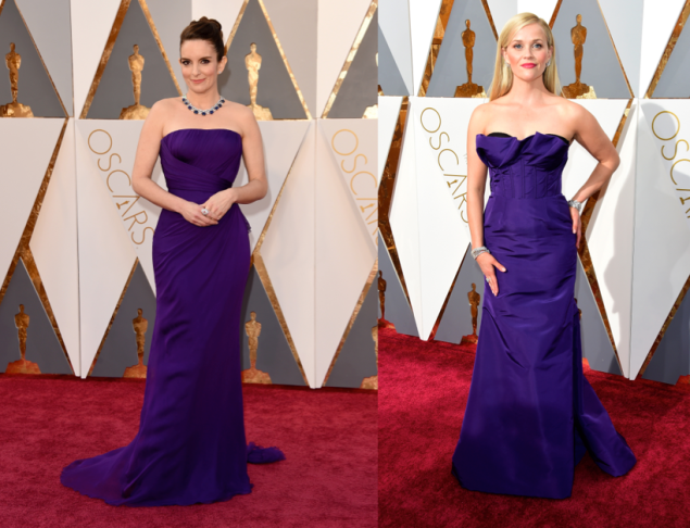 Tina Fey in Atelier Versace and Reese Witherspoon in Oscar de la Renta
