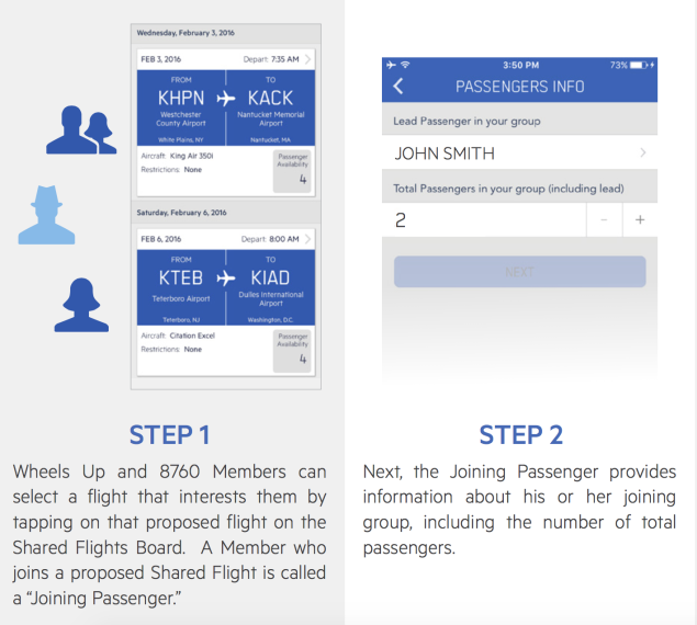 Shared Flights screen