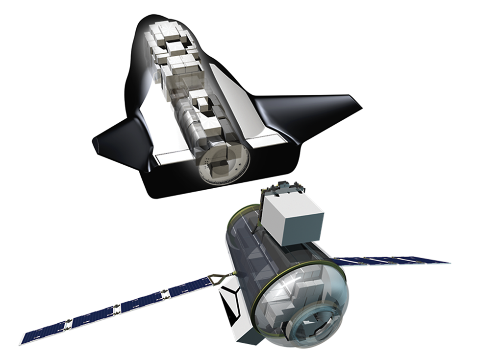 Sierra Nevada Corporation's Uncrewed Dream Chaser with Cargo Module and visible cargo (Image: SNC)