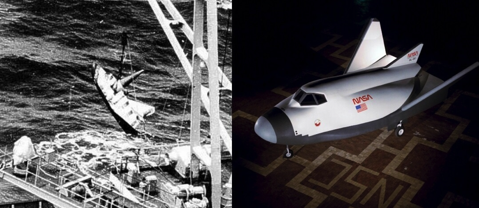 LEFT: BOR-4 - Photo by Australian P-3 Naval Reconnaissance Aircraft. RIGHT: An HL-20 mockup (Images: NASA)