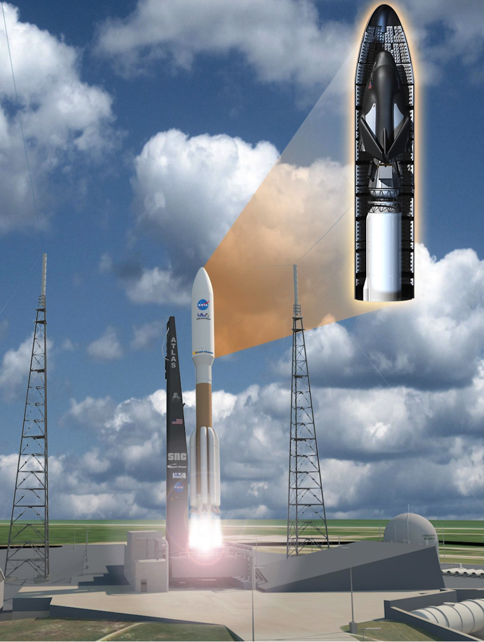Launch Initiated for SNC's Dream Chaser Cargo System Aboard an Atlas V Rocket at Kennedy Space Center. (Image: SNC)
