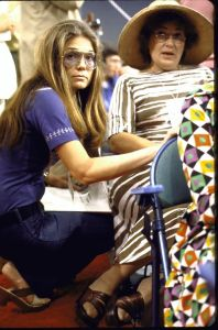 Ms. Steinem with Rep. Bella Abzug during the 1972 Democratic Convention.
