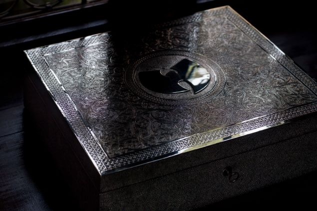 """Wu-Tang Clan's """"Once Upon A Time In Shaolin… """" encased in a hand-carved silver box. (Photo: Rashaad Patterson)"""
