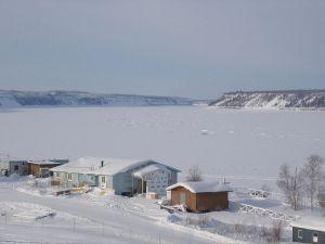 Fort Good Hope in the Northwest Territories, overlooking the Mackenzie River.