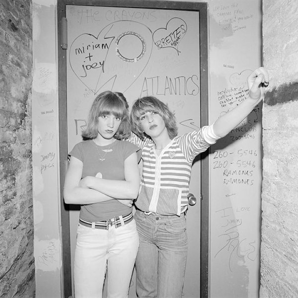 Two girls in a band at CBGB's in March of 1977