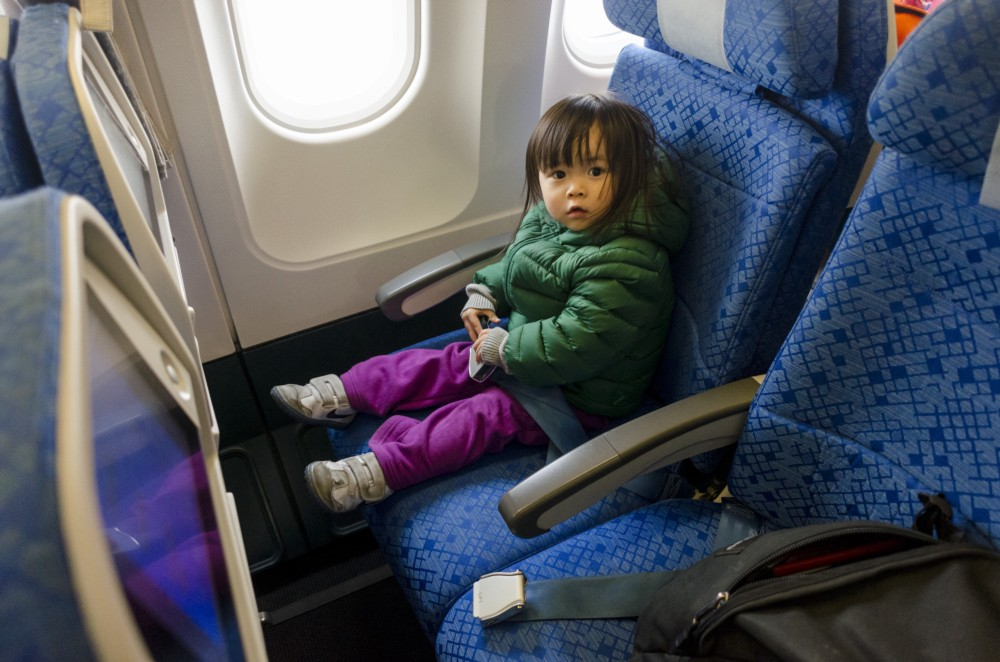 Thats us on the flight. She always prefer the window seat.