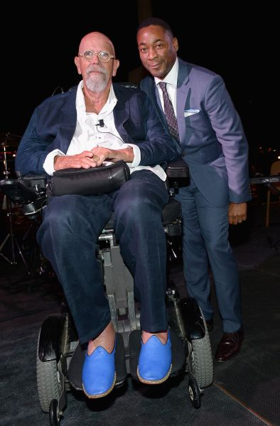 Artist Chuck Close on stage with Franklin Sirmans during the Perez Art Museum Miami Art Of The Party in Miami.