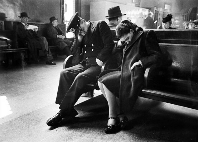 Esther Bubley / Bus Story, Greyhound Bus Terminal, 245 W. 50th St, New York, New York—Sleeping Passengers in the Terminal Waiting Room, 1947.