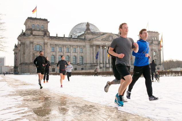 In this other shot of running in Berlin, he's smiling.