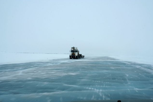 An ice road over the Mackenzie River in the Yukon Territory.
