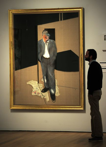 """""""Study of a Man Talking"""" by Francis Bacon is on display at Christie's during a preview of their Impressionist and Modern Art sale in New York, October 28, 2011. Christie's will hold its bi-annual Impressionist and Modern Art sale on November 1, 2011. AFP PHOTO/Emmanuel Dunand"""