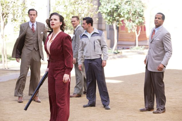 L-R: James D'Arcy, Hayley Atwell, Chad Michael Murray, Dominic Cooper, and Reggie Austin in Marvel's Agent Carter.