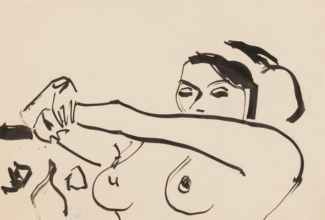 Ernst Ludwig Kirchner, Bust of a Nude Girl with Arms Outstretched 1910.