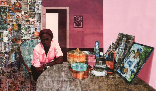Njideka Akunyili Crosby,Before Now After (Mama, Mummy and Mamma), 2015.