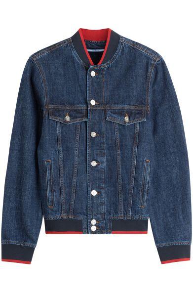 Kenzo Denim Bomber Jacket with Patches, $625, Stylebop.com