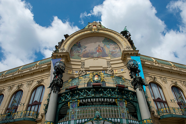 The Municipal House in Prague is one of the most prominent Art Nouveau buildings in the city.