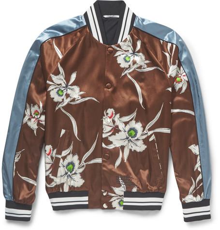 Valentino Printed Satin Bomber Jacket, $2,350, MrPorter.com
