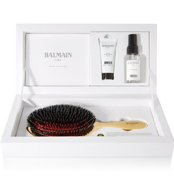 Balmain Paris Hair Couture Gold Boar Bristle Brush & Haricare Set, $209, Net-A-Porter.com