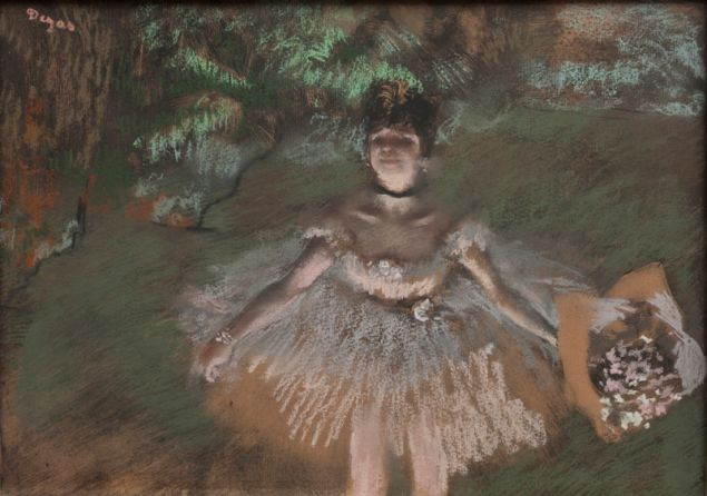 Edgar Degas, Dancer Onstage with a Bouquet, c.1876.