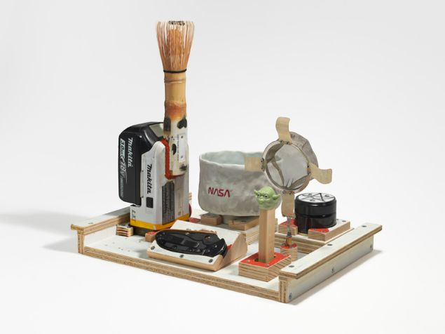 Tom Sachs, Green Smoke, 2014. On view in Tom Sachs: Tea Ceremony at the Noguchi Museum, NY.