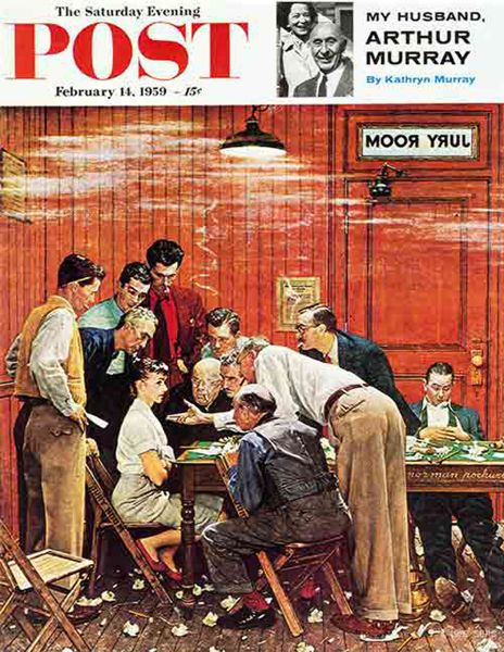 Norman Rockwell's The Jury on the cover of The Saturday Evening Post (1959).