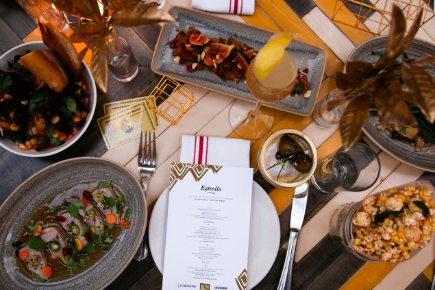 The table setting of the #AmexGold private dinner series at Estrella.