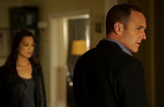 Ming-Na Wen as Melinda May and Clark Gregg as Agent Coulson.