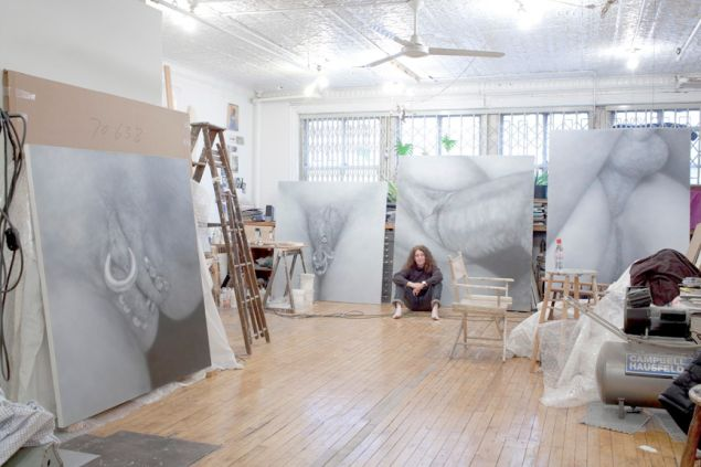 Artist Betty Tompkins in her studio.
