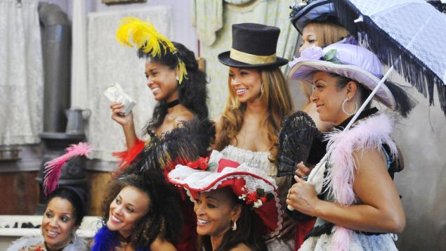 The ladies of Real Housewives of the Potomac on some sort of Maryland Marti Gras or something.