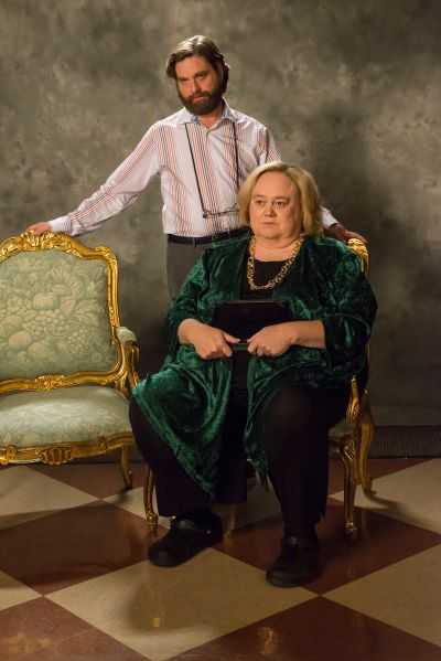 Zach Galifianakis as Dale Baskets and Louie Anderson as Christine Baskets.