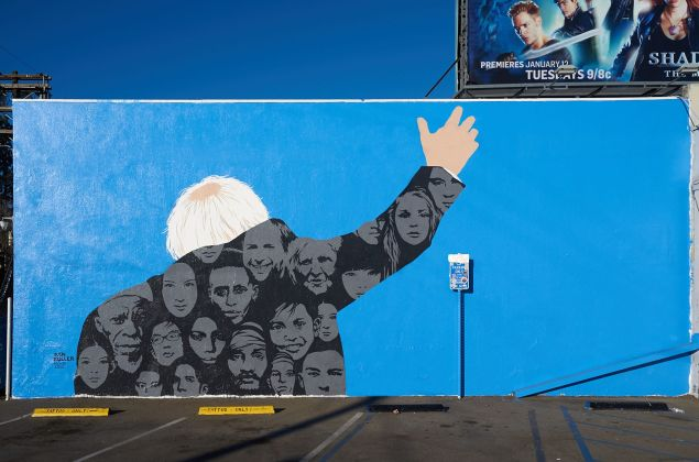 """A mural by Dan Buller outside Los Angeles's HVW8 gallery, part of """"The Art for a Political Revolution"""" show."""