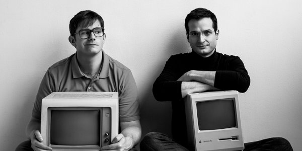Rory O'Malley and Bryan Fenkart as Bill Gates and Steve Jobs in Nerds.