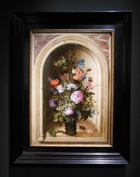 Roelant Savery, Vase of Flowers in a Stone Niche, 1615.
