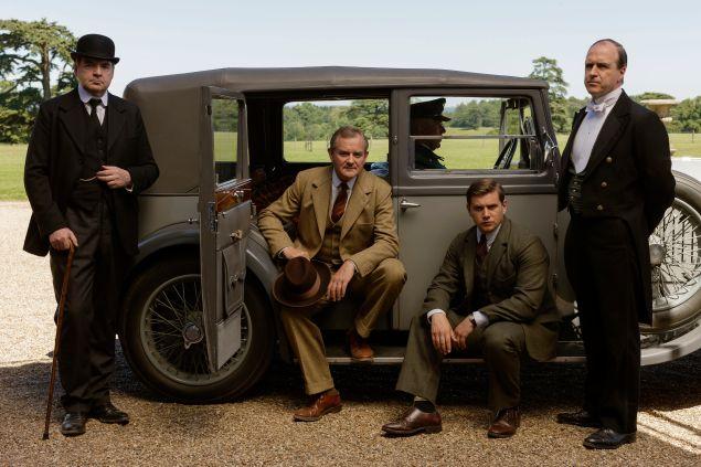 L-R: Brendan Coyle as Bates, Hugh Bonneville as Lord Grantham, Allen Leech as Tom Branson, and Kevin Doyle as Molesley.