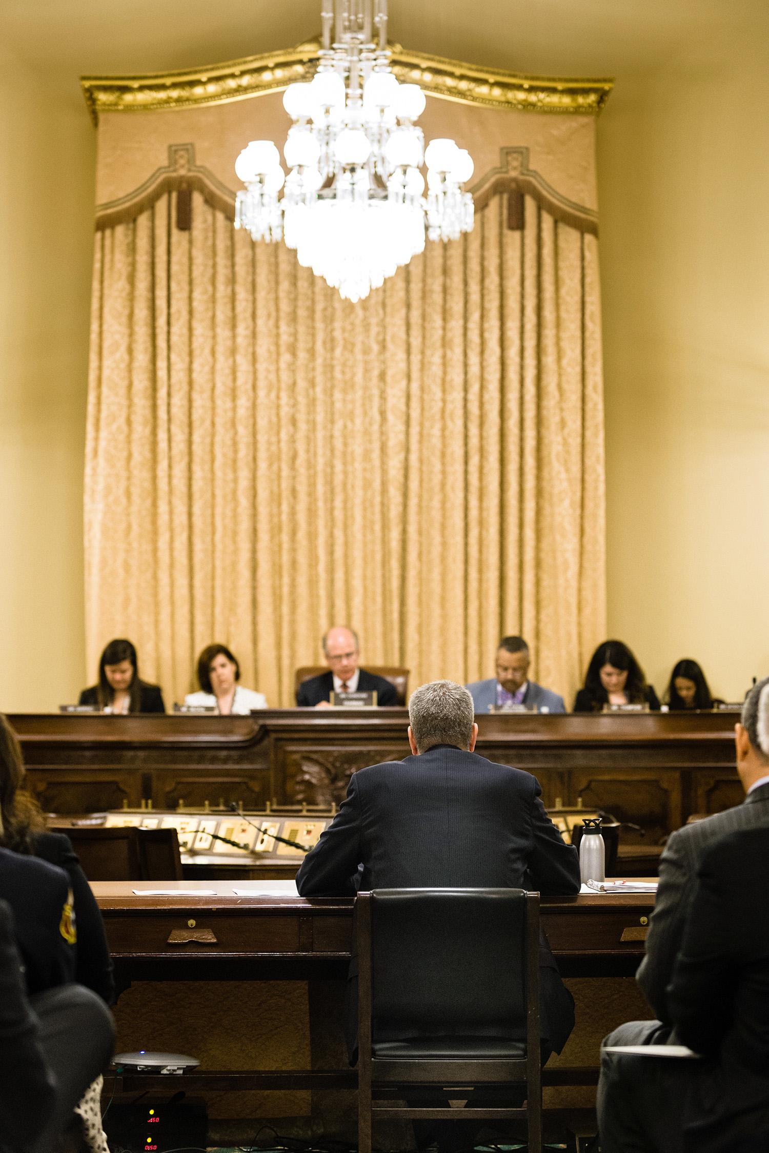 Mayor Bill de Blasio testifies to a House subcommittee in Washington.