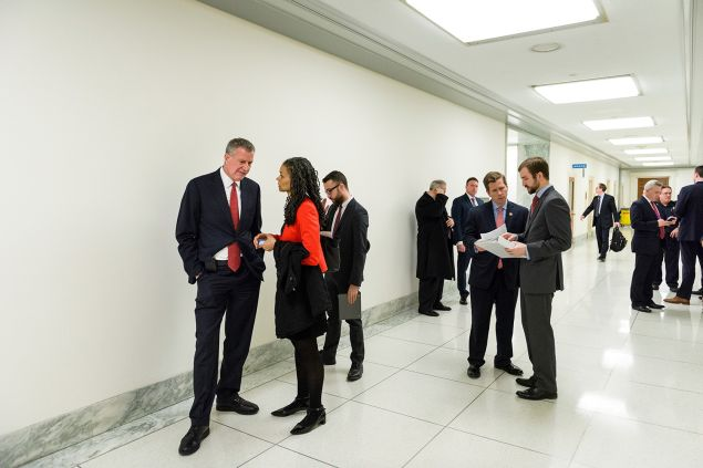 Mayor Bill de Blasio huddles with his former counsel Maya Wiley.
