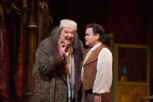 Ambrogio Maestri in the title role and Javier Camarena as Ernesto in Donizetti's Don Pasquale.