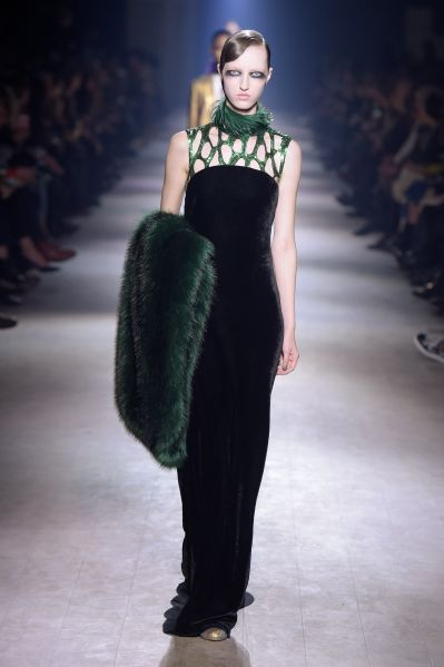 Green sequins and matching fur