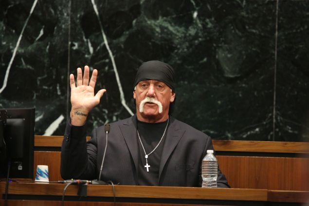 Hulk Hogan in court yesterday.