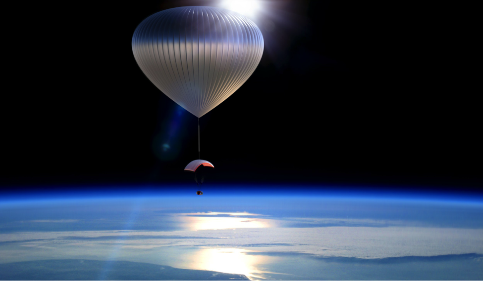 Concept of a passenger capsule being lifted by helium balloons to the edge of space.