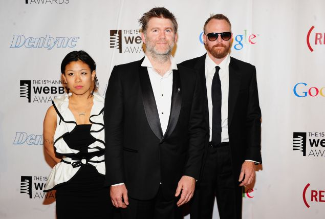 (L-R) Nancy Whang, James Murphy and Pat Mahoney of LCD Soundsystem totally having a blast at this thing.
