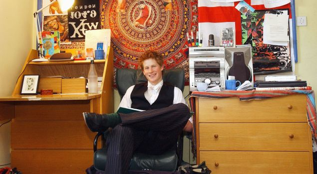 ETON, ENGLAND - MAY 12: The youngest son of the Prince of Wales, Prince Harry poses for a photograph on May 12, 2003 in his room at Eton College, Eton in England. Prince Harry will finish his studies at Eton College at the end of June.