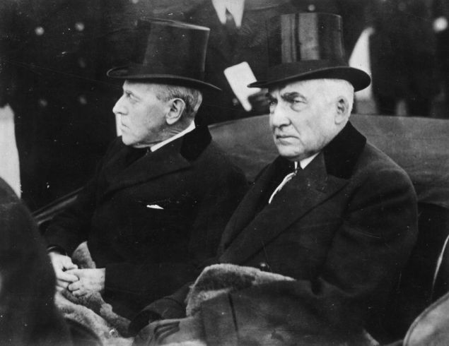 March 1921: Warren Gamaliel Harding (1865 - 1923), the 29th President of the United States of America, riding in a carriage with the former President Woodrow Wilson (1856 - 1924) during the Inauguration ceremony.