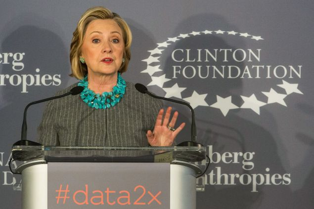 Hillary Clinton speaks at a Clinton Foundation event.