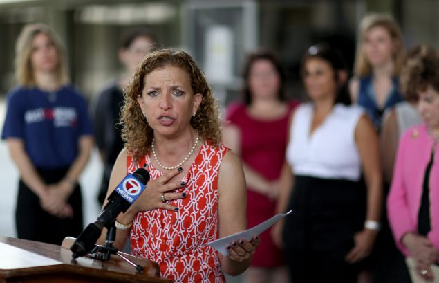 Rep. Debbie Wasserman Schultz speaks to the media as she is joined by local lawmakers and womens health advocates to call for Florida Governor Rick Scotts veto of a recently passed measure that they feel severely restricts access to safe and legal abortions on April 27, 2015 in Fort Lauderdale, Florida. The Florida state legislators have passed a measure which requires a woman to wait 24 hours and make two separate trips before she is able to obtain an abortion.