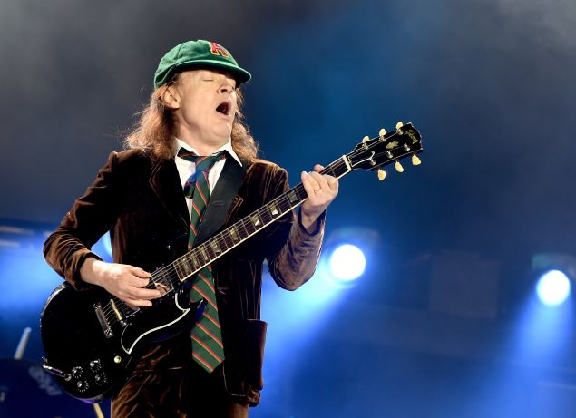 LOS ANGELES, CA - SEPTEMBER 28: Musician Angus Young of AC/DC performs at Dodger Stadium on September 28, 2015 in Los Angeles, California.